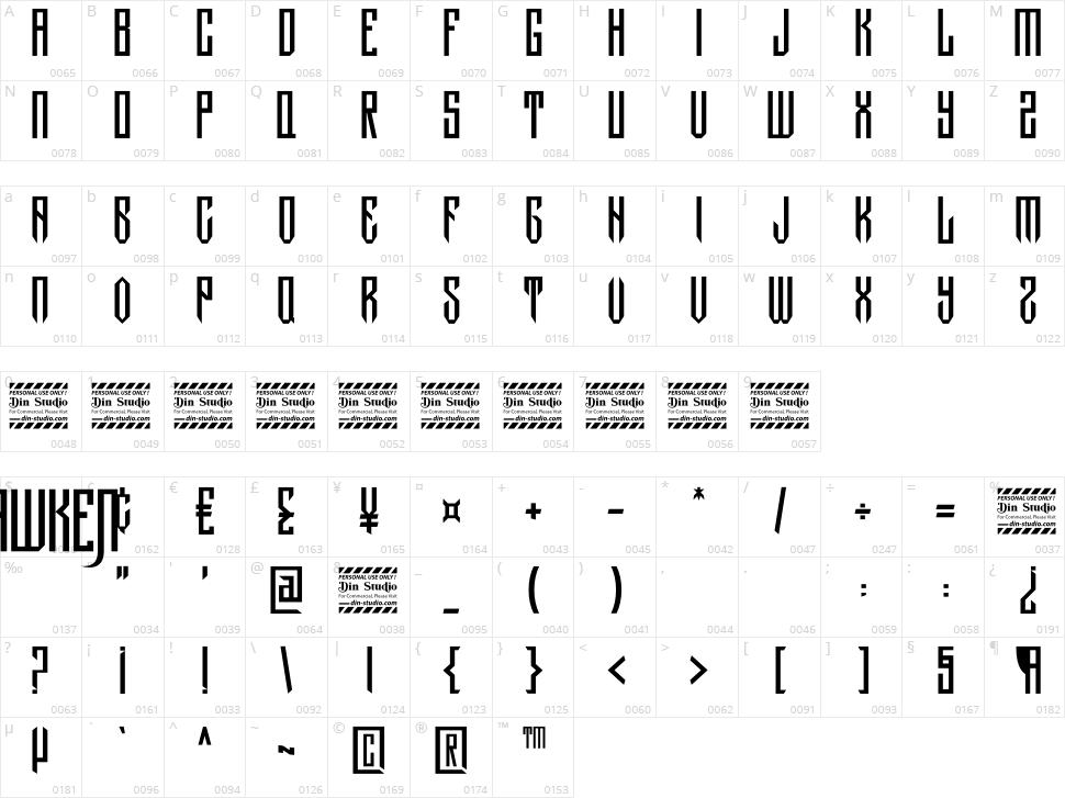 Hawken Character Map