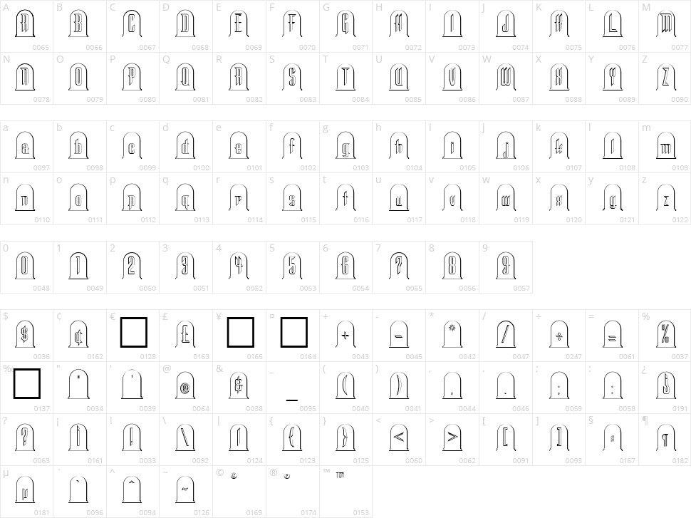 Headstone Character Map