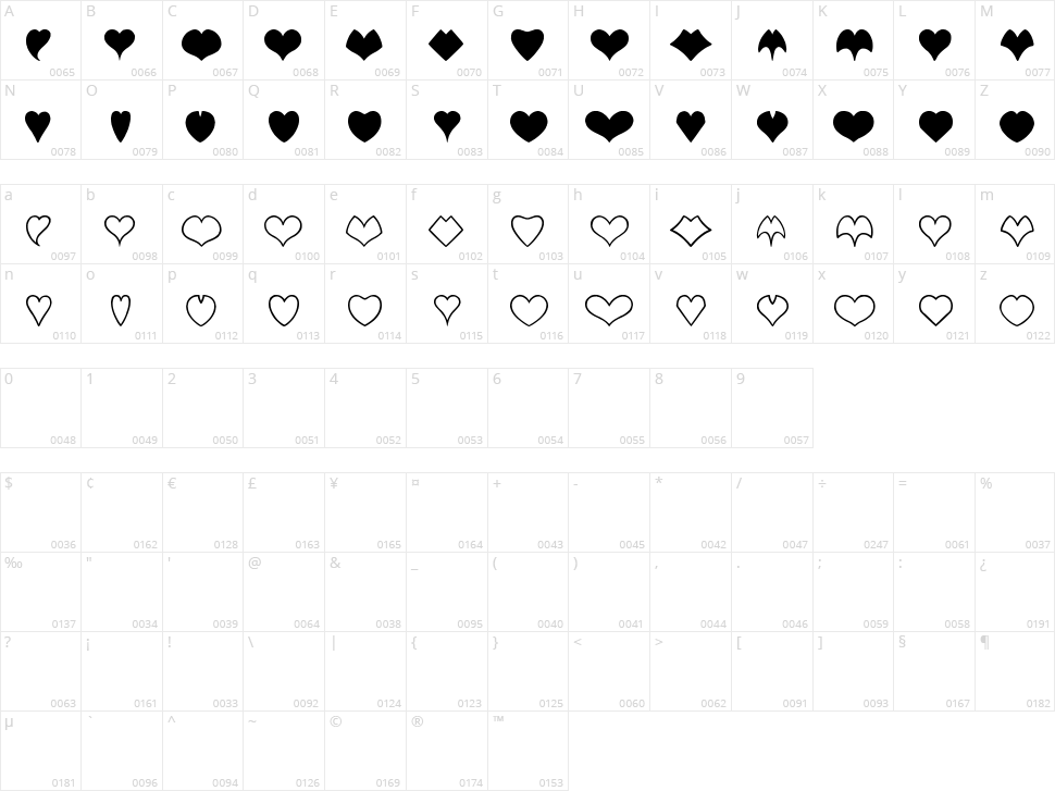 Heart Shapes Character Map