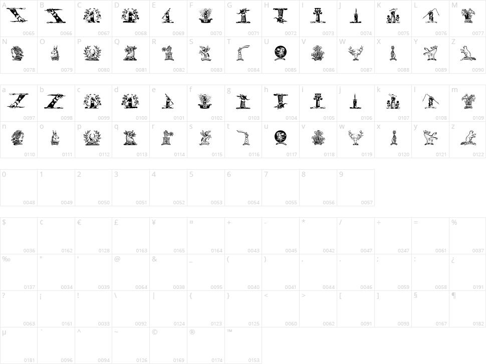 Helmbusch Crest Symbols Character Map