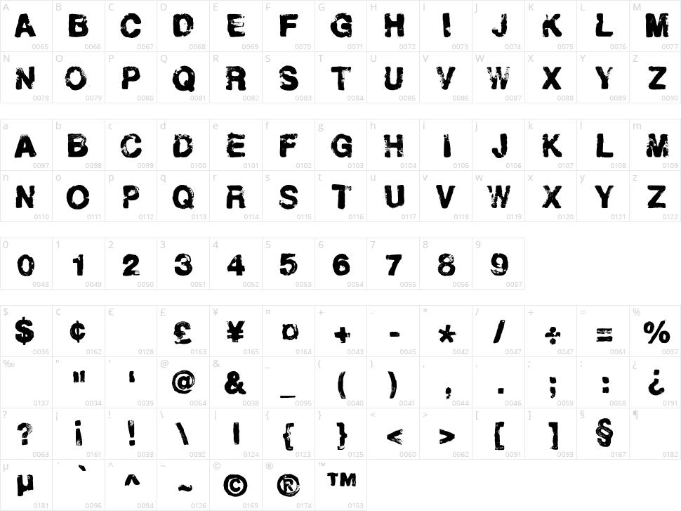 Helveticrap Character Map