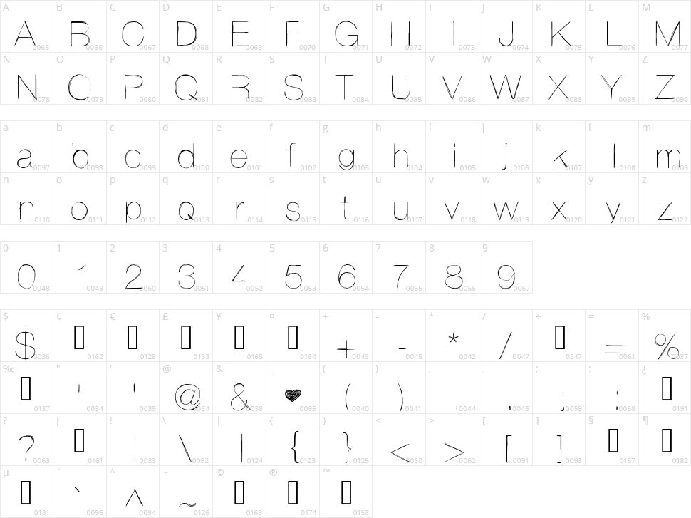 Helvetifrank Dingbats Character Map
