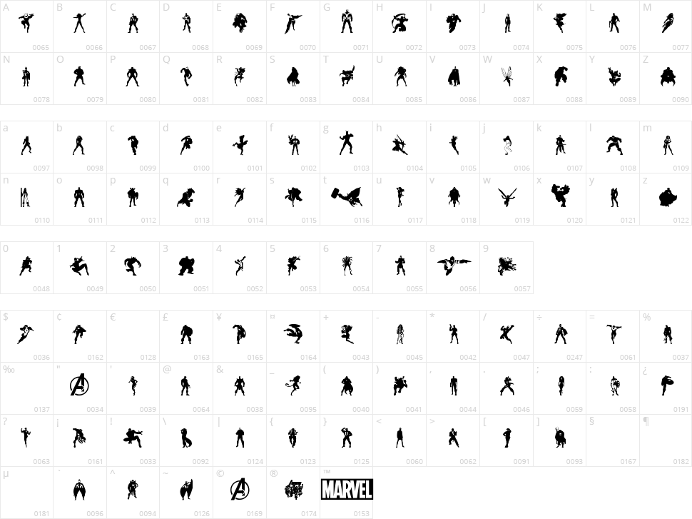 Heroes Assemble Dingbats Character Map