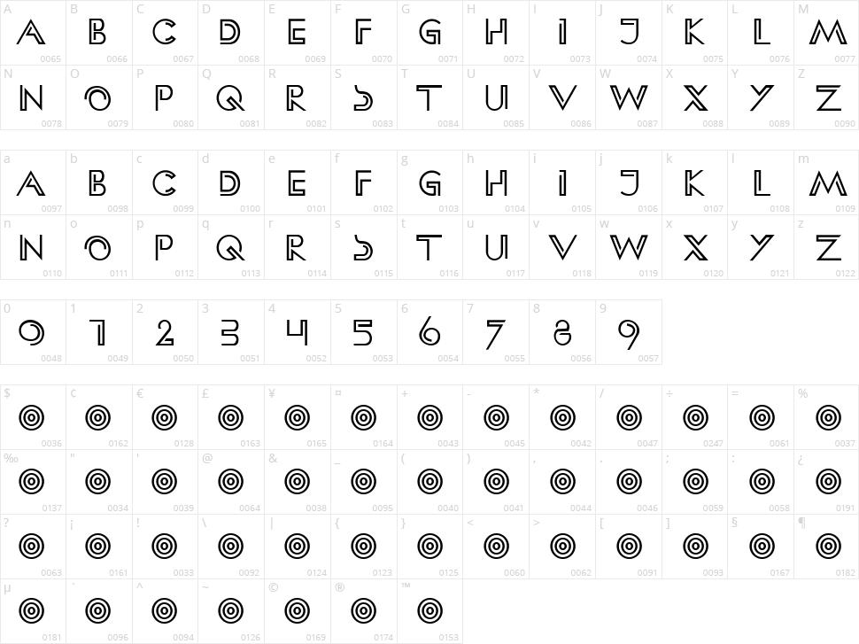 HFF Clip Hanger Character Map