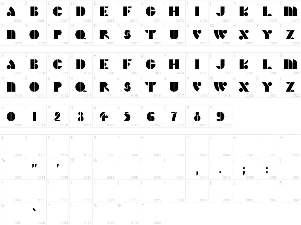 HFF Hunts Deco Character Map
