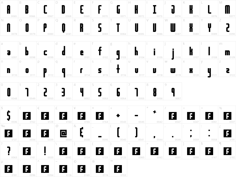 Highway Block Sans Character Map