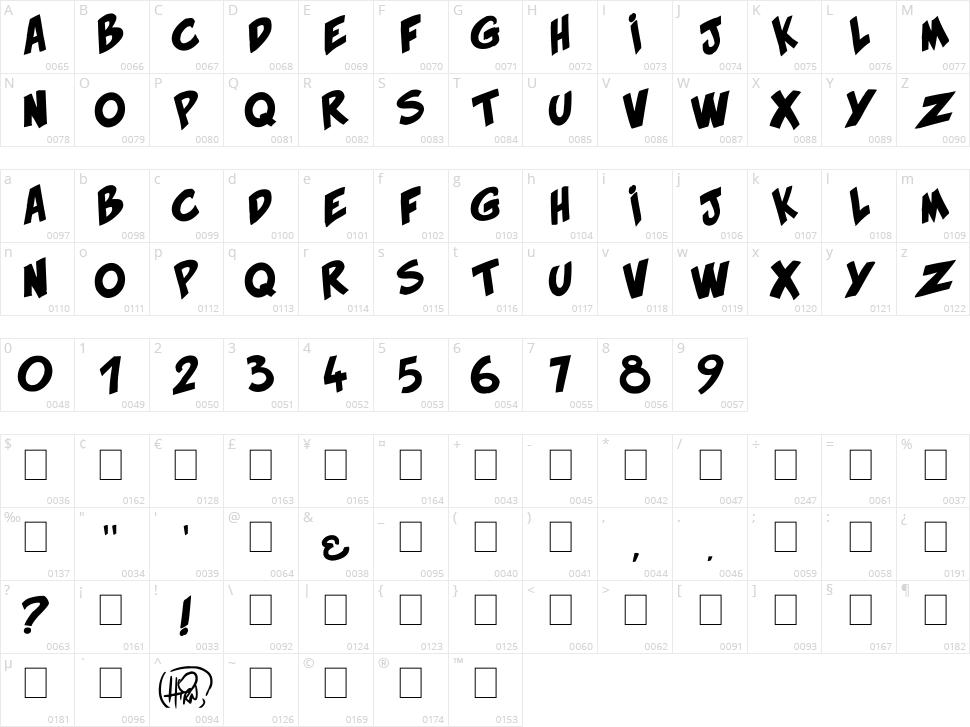 Hirn Bold Character Map