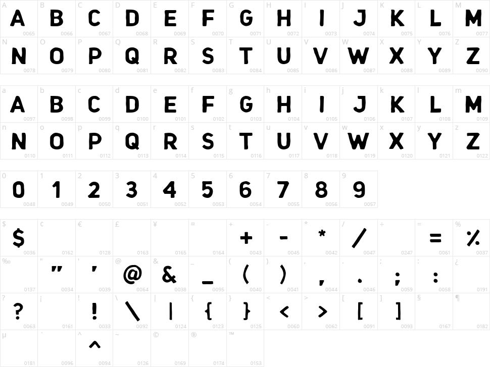 Hoccen Caps Character Map
