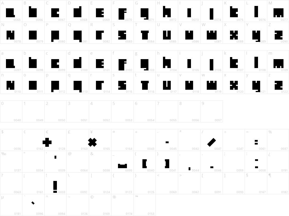 Holland Blocks Character Map
