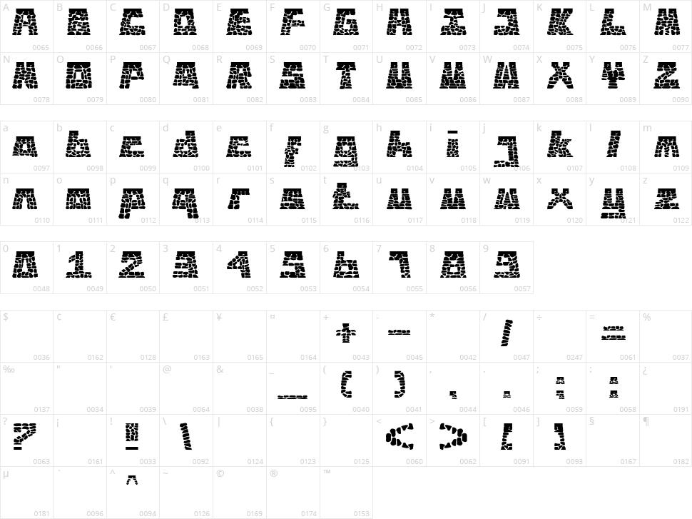 Hombo Character Map