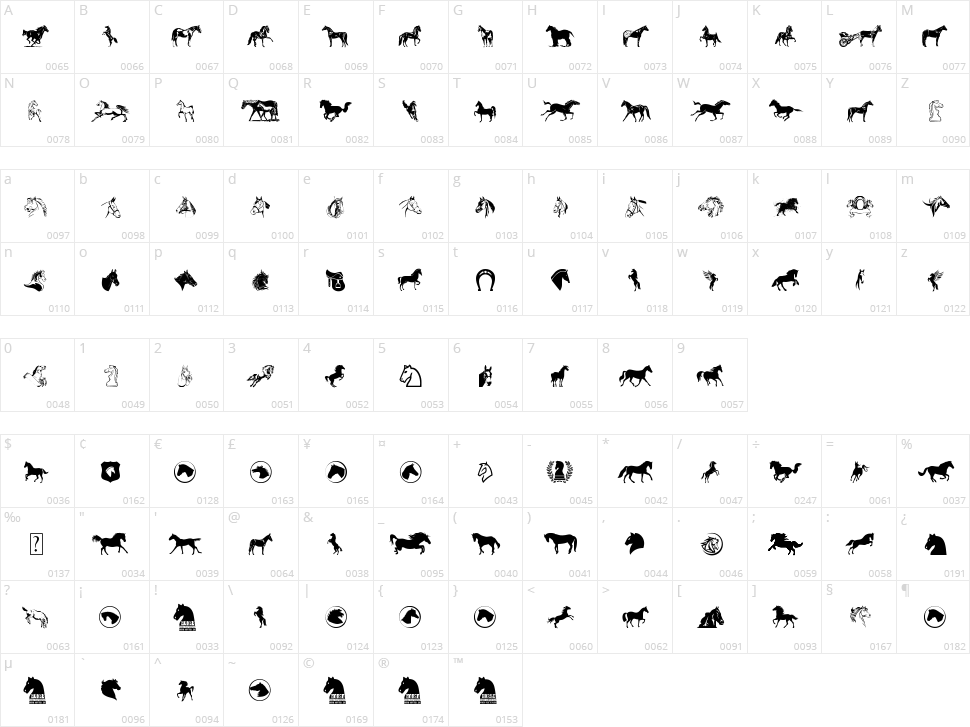 Horse Character Map