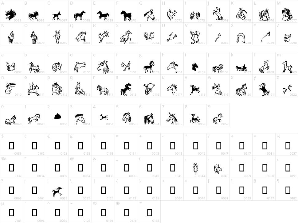 Horsedings Character Map