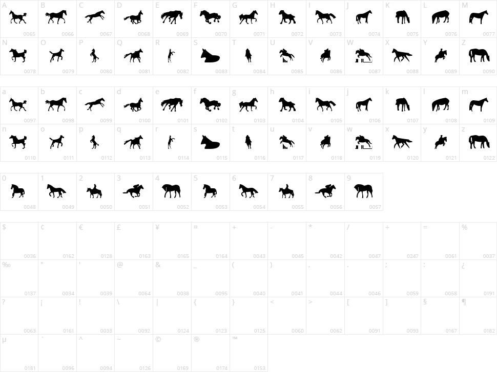 Horses 1 Character Map