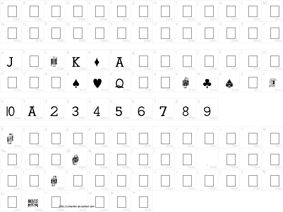Hoyle Playing Cards Character Map