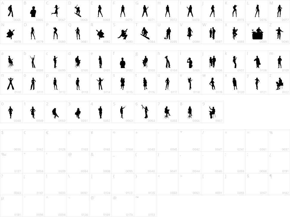 Human Silhouettes Character Map