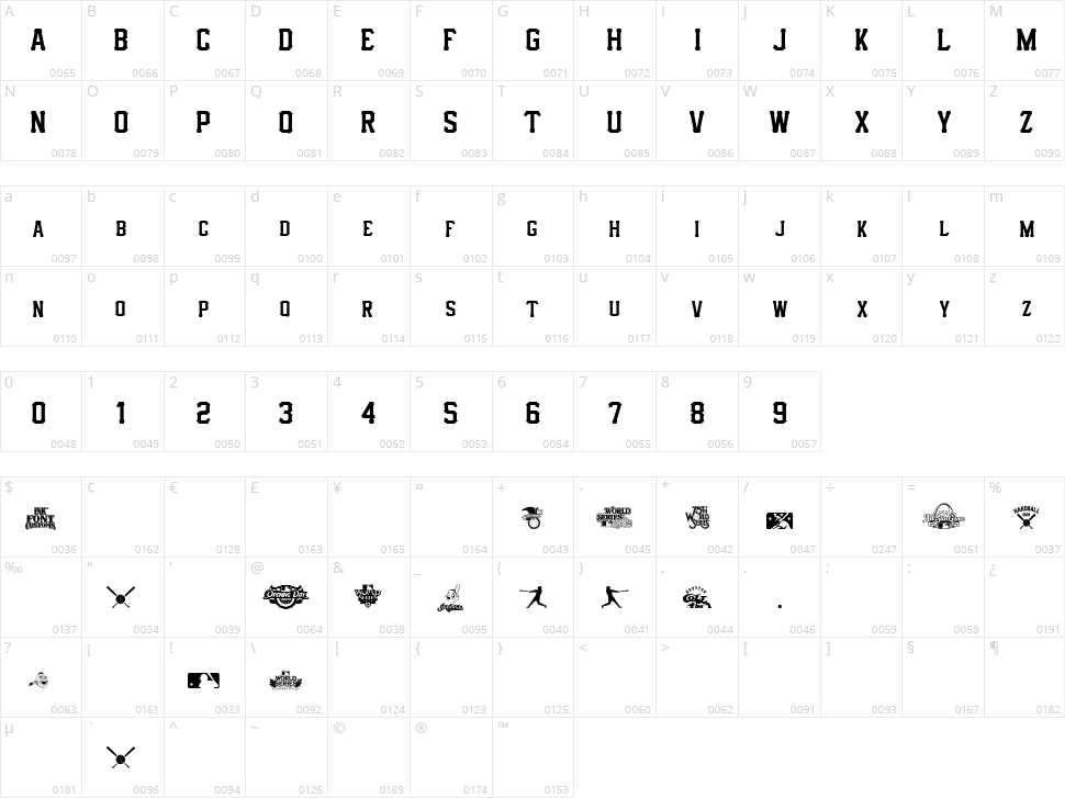 IFC Hardball Character Map