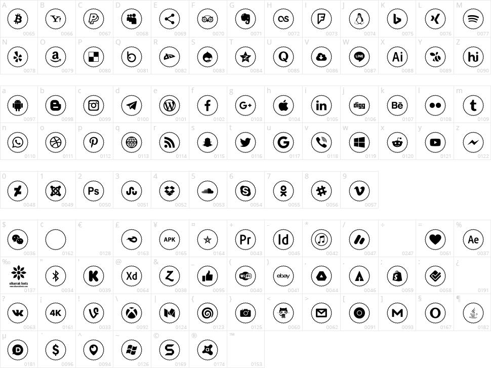 Icons Social Media 2 Character Map