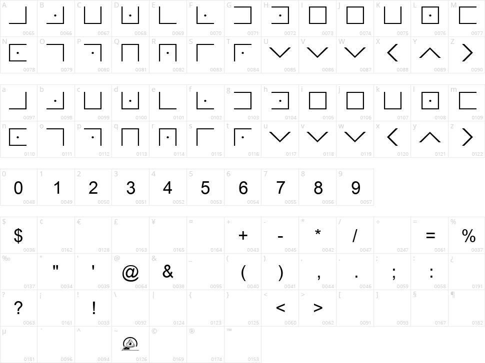 Illuminati Masonic Cipher Character Map
