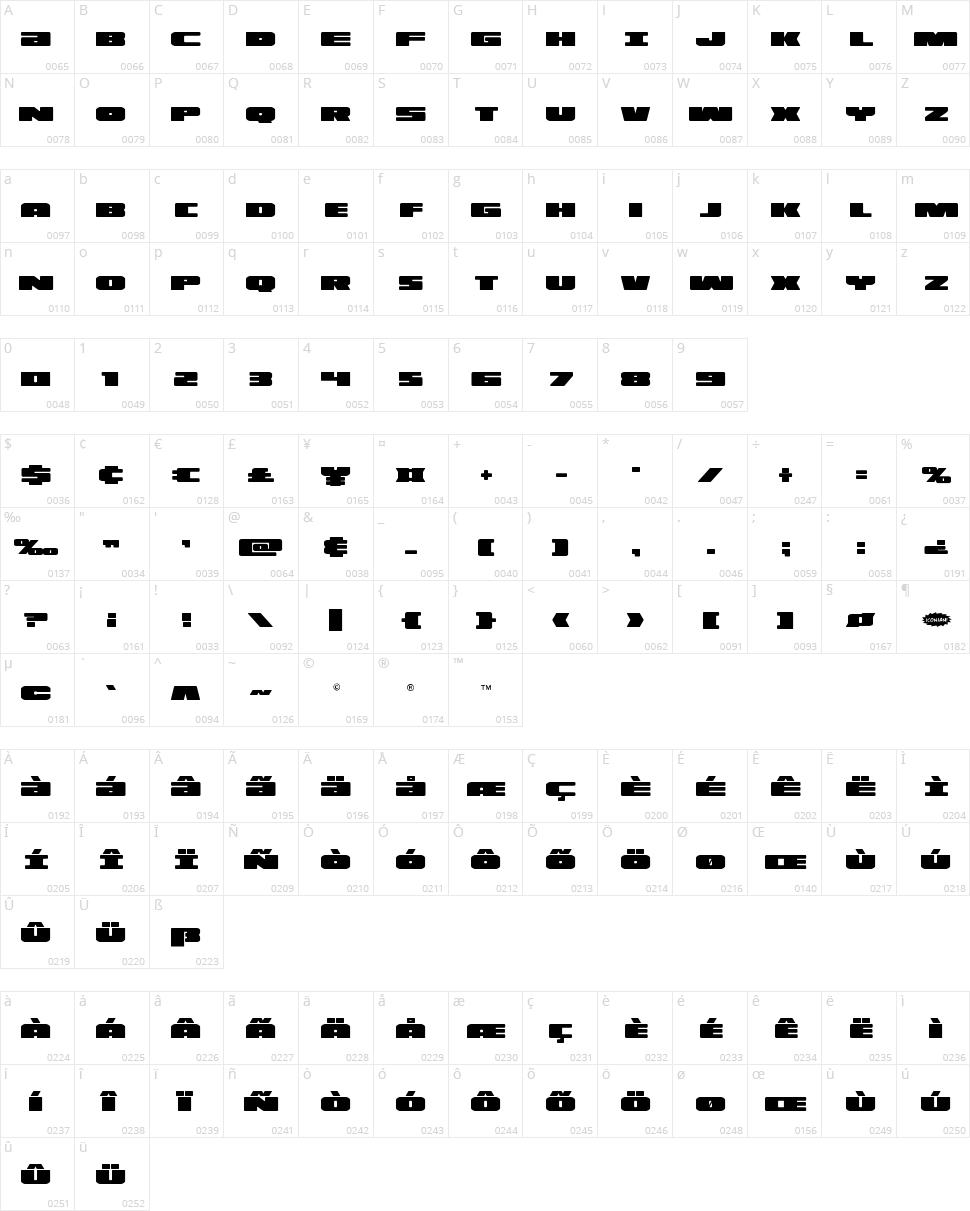 Illumino Character Map