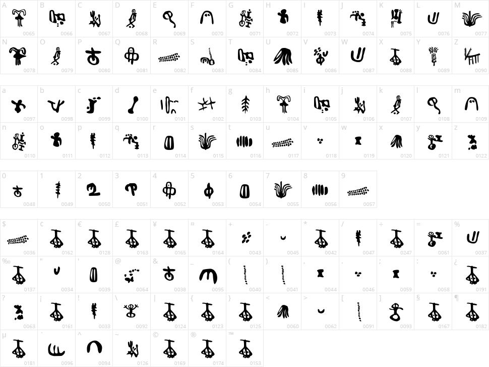 Inga Stone Signs Character Map