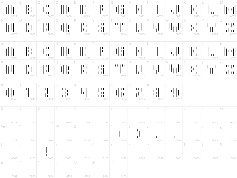 InMono Character Map
