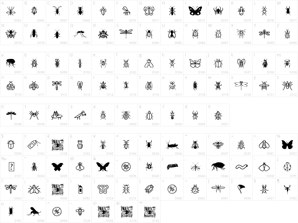 Insect Icons Character Map