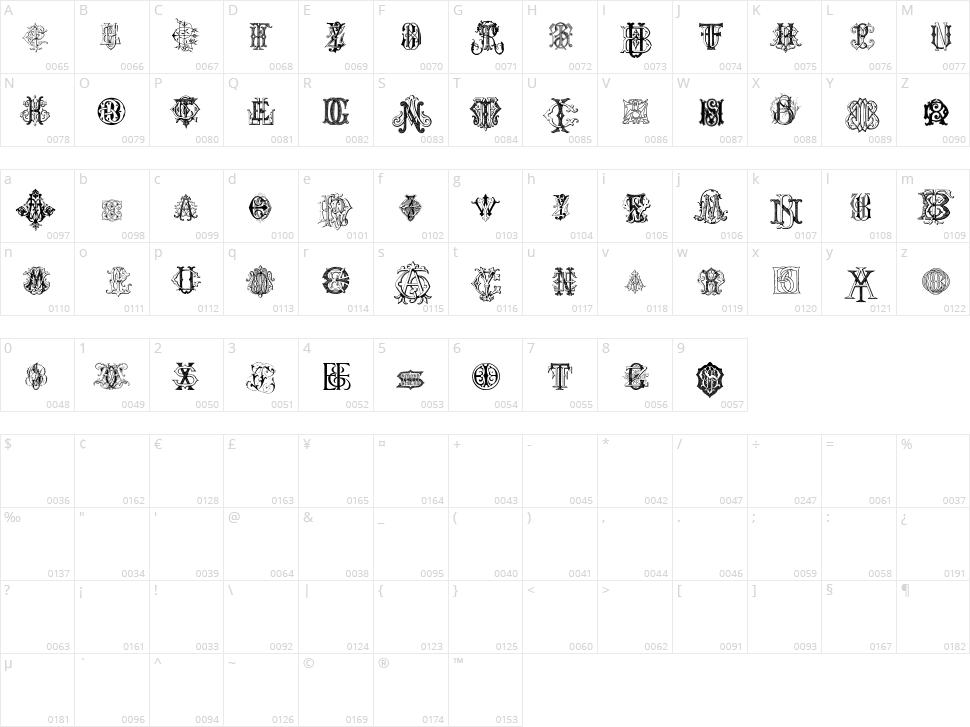 Intellecta Monograms Character Map
