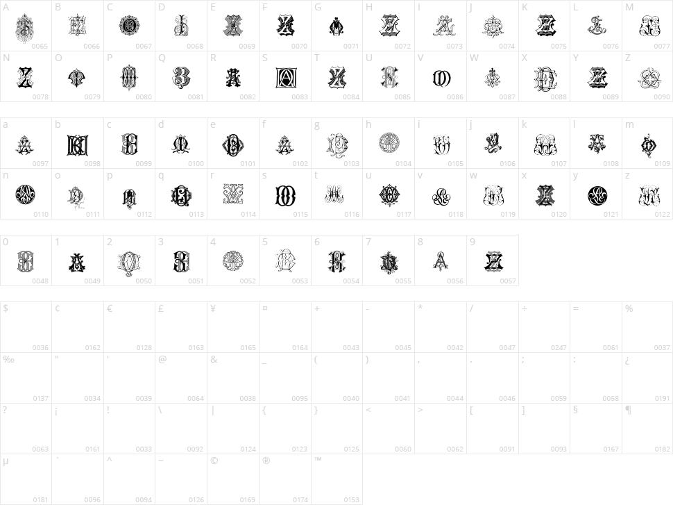 Intellecta Monograms Random Samples Eight Character Map