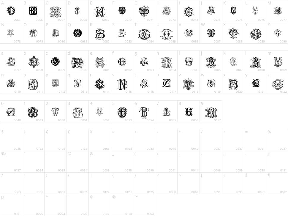 Intellecta Monograms Random Samples Eleven Character Map