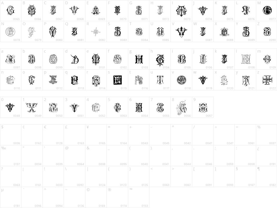 Intellecta Monograms Random Samples Seven Character Map