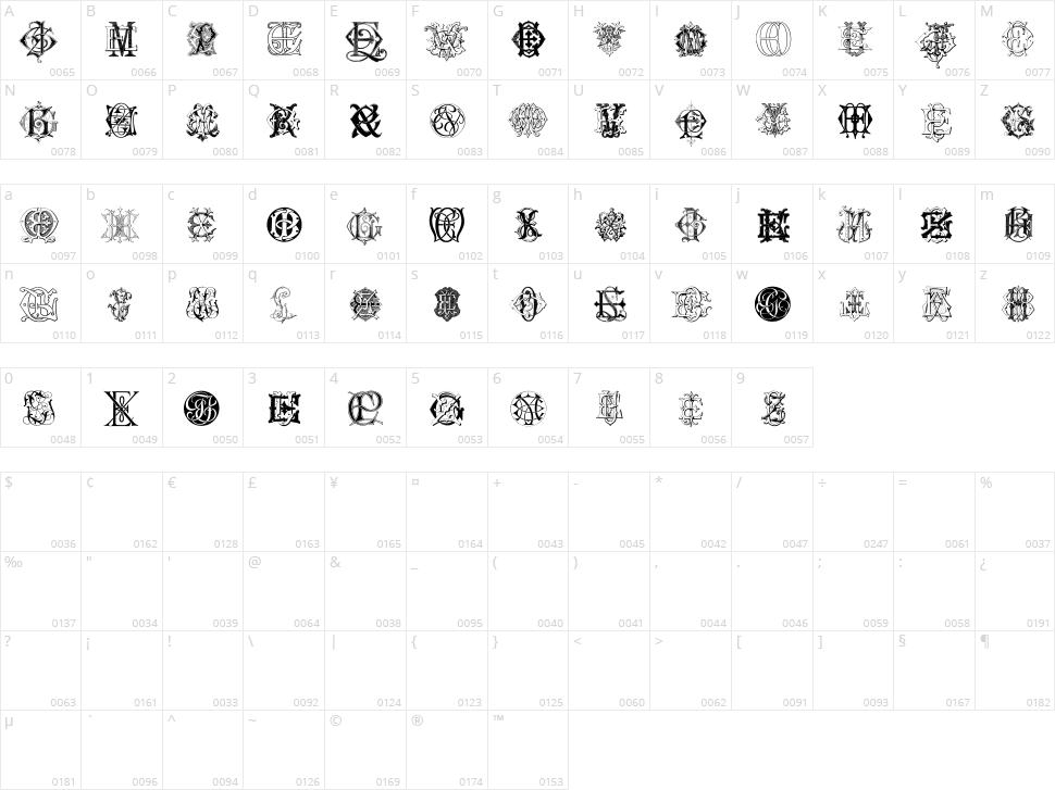 Intellecta Monograms Random Samples Six Character Map