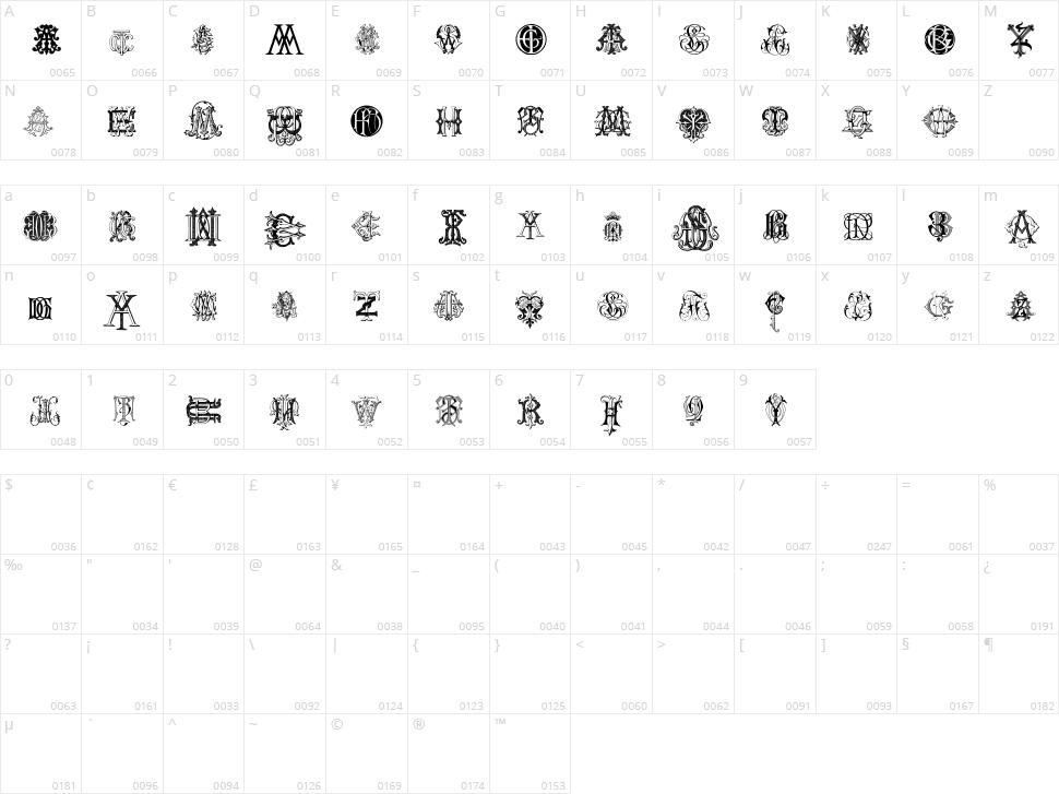 Intellecta Monograms Random Samples Two Character Map