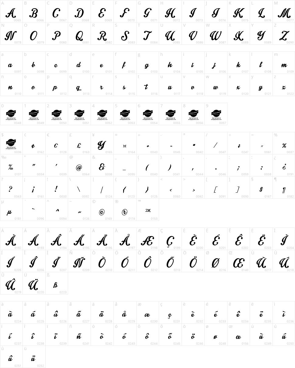 Intrique Script Character Map
