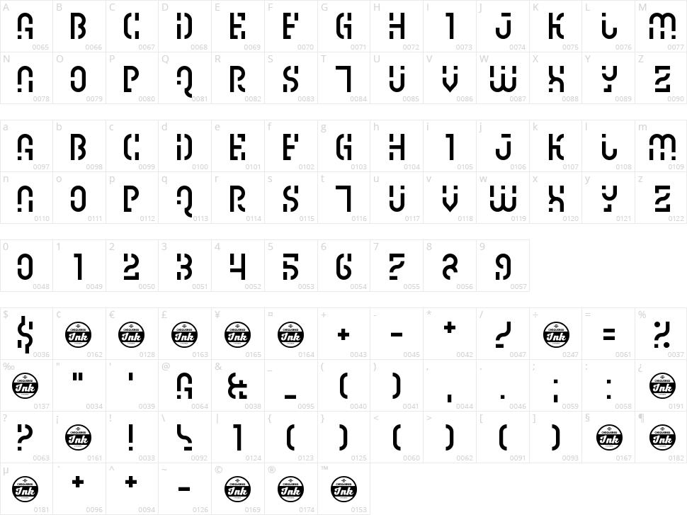 Ipscrik Character Map