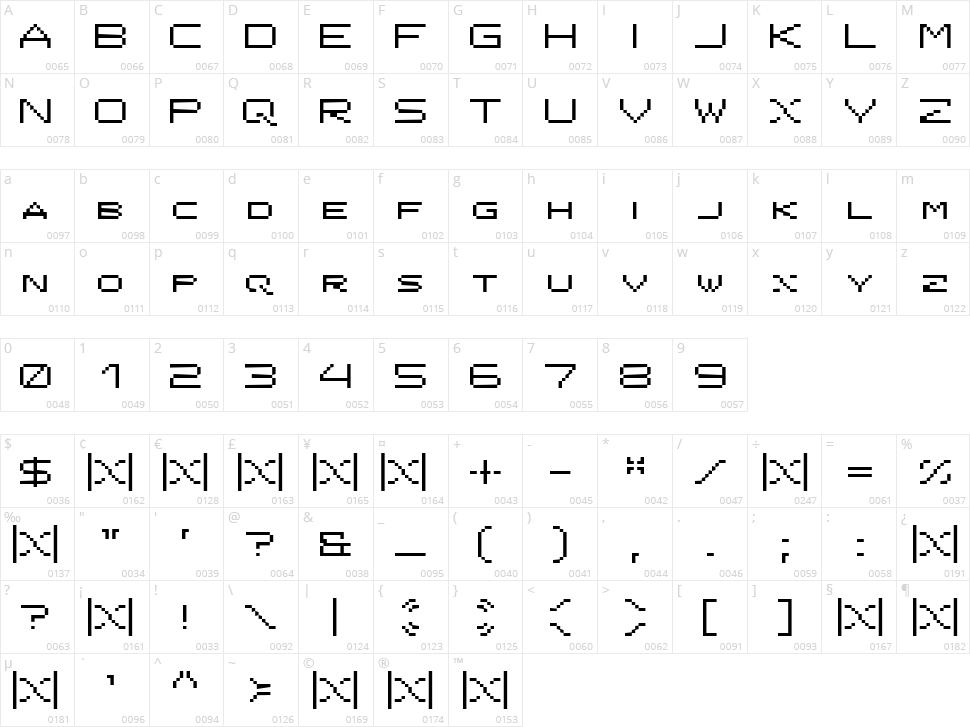 ISL Onyx Character Map