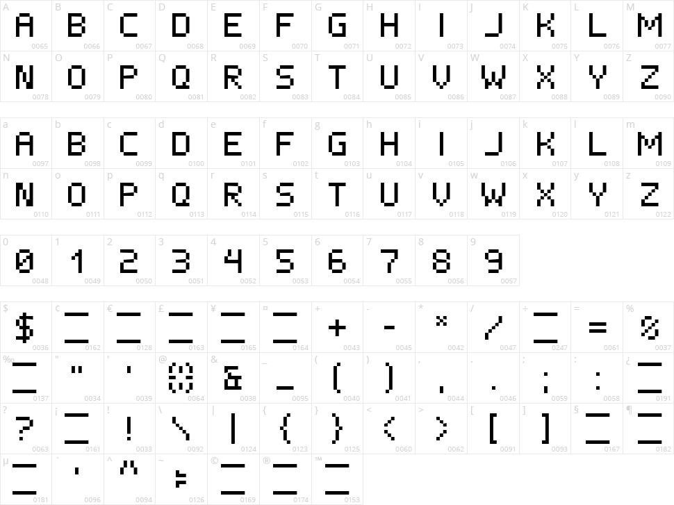 ISL Xen Character Map