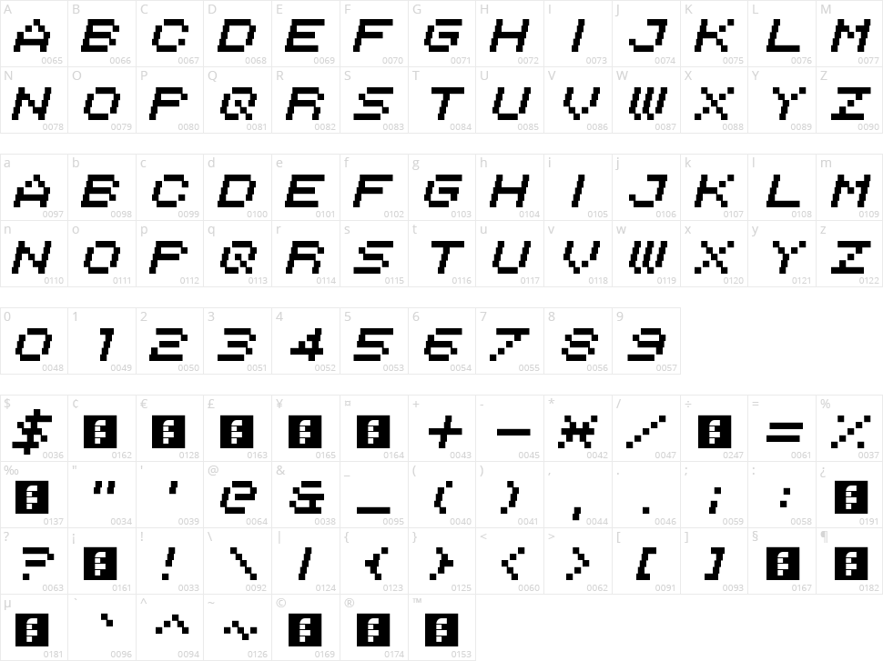 Italipixel Character Map