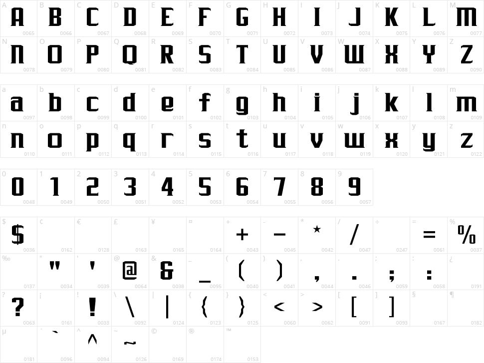 J-LOG Rebellion Serif Character Map