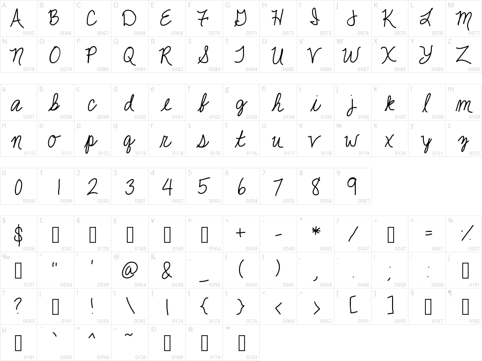 Jackie K Cursive Character Map