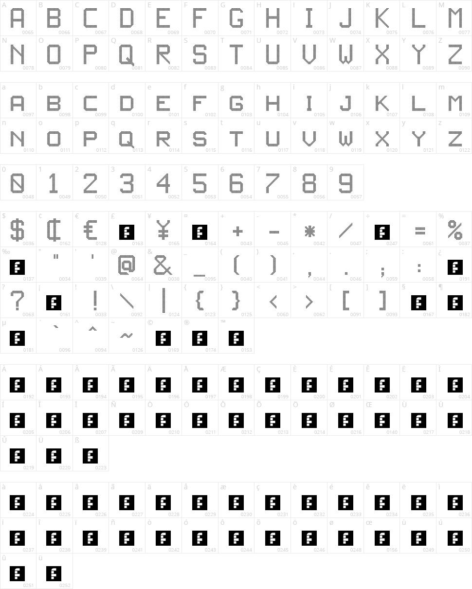 JD LED3 Character Map