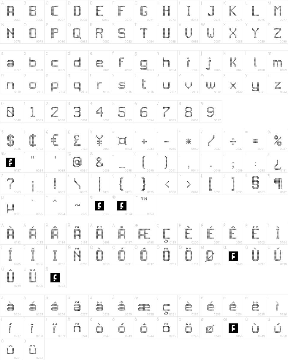 JD LED5 Character Map
