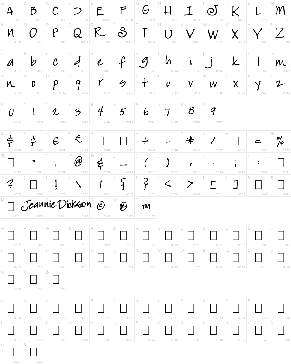 JeansFont Character Map