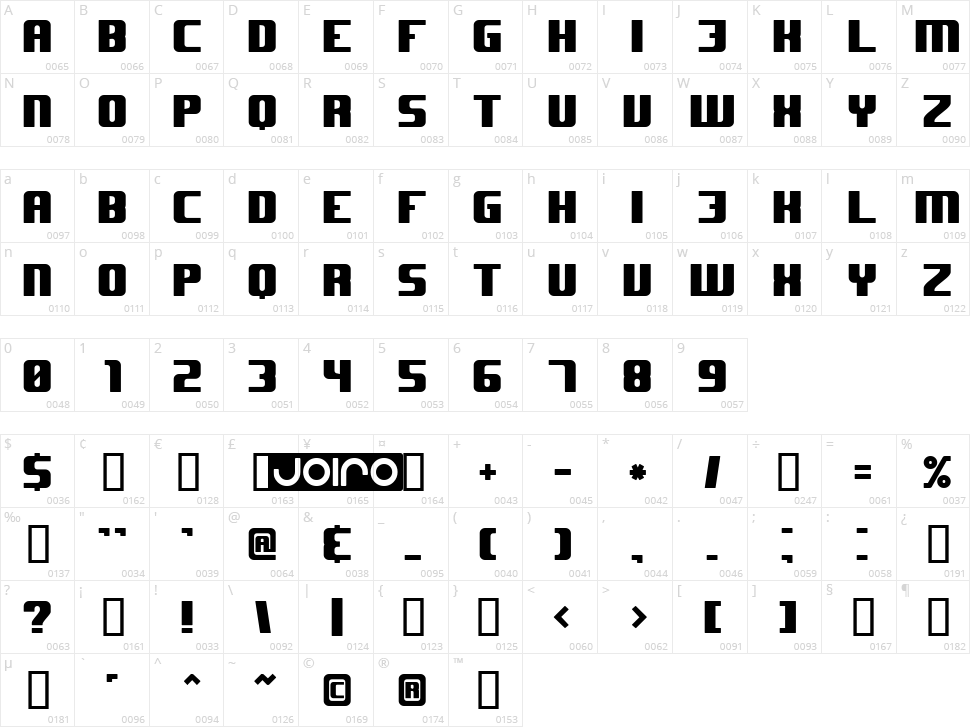 JHUF Character Map