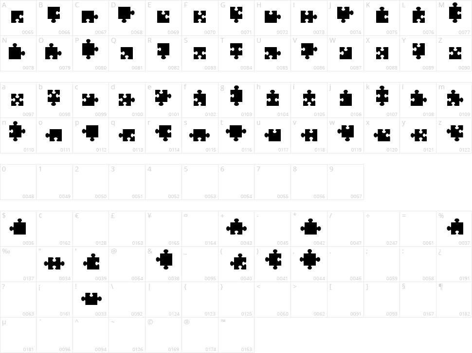 Jigsaw Pieces TFB Character Map