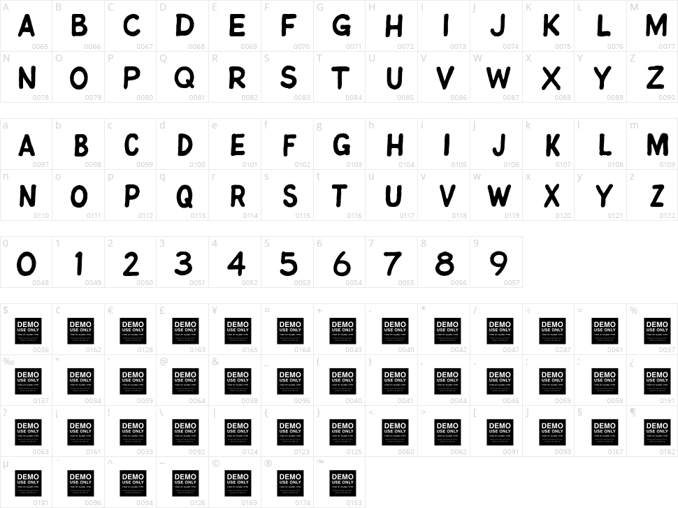 Jitter Bug Character Map