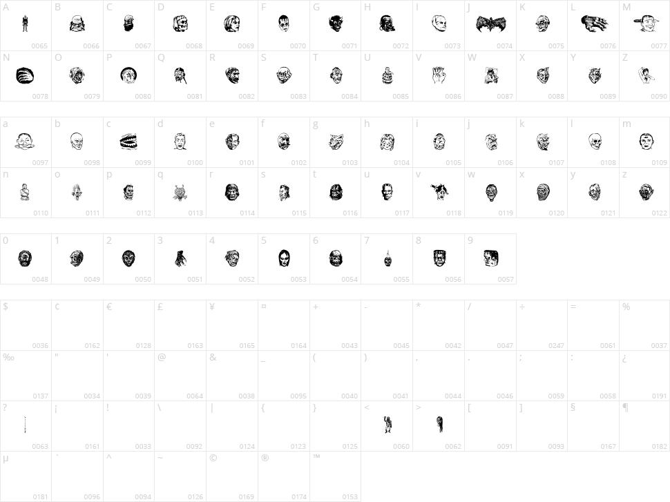 JMH Eerie Dingbats Character Map