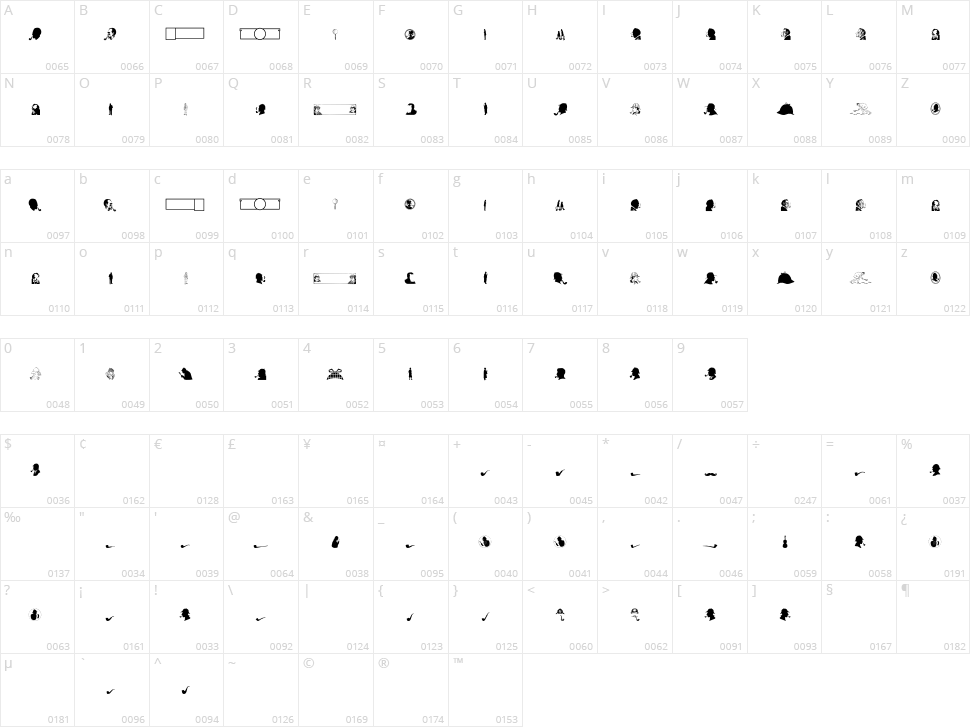 JMH Memorias Dingbats Character Map