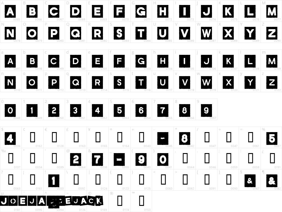 JoeJack Character Map