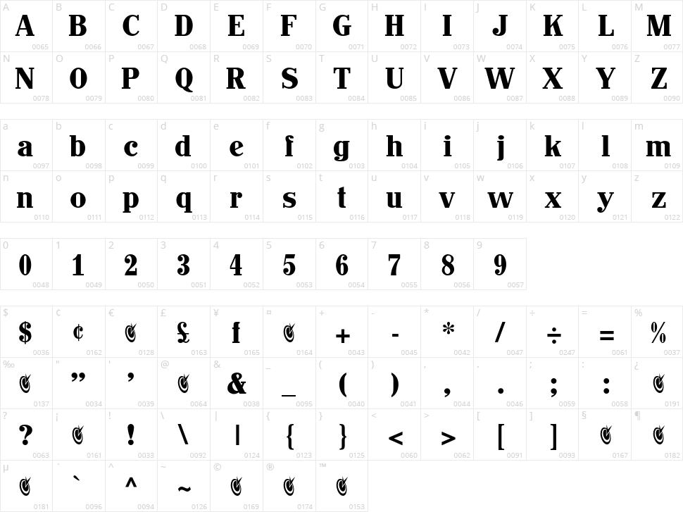 John Hancock CP Character Map