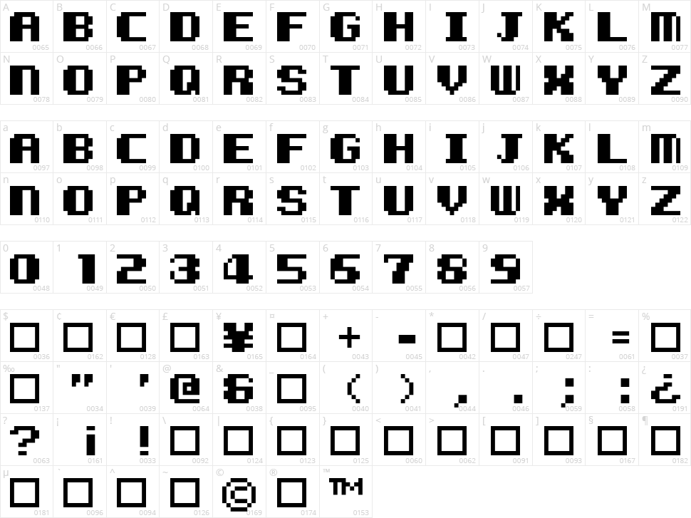 Kemco Pixel Character Map